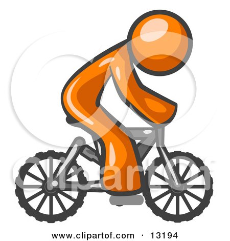 Orange Man Riding a Bicycle Clipart Illustration by Leo Blanchette