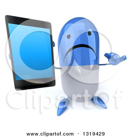 Clipart of a 3d Unhappy Blue and White Pill Character Holding up a Smart Cell Phone and Gesturing Call Me - Royalty Free Illustration by Julos