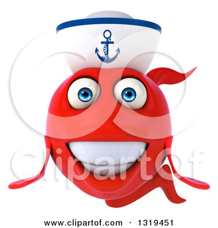 Clipart of a 3d Red Sailor Fish - Royalty Free Illustration by Julos