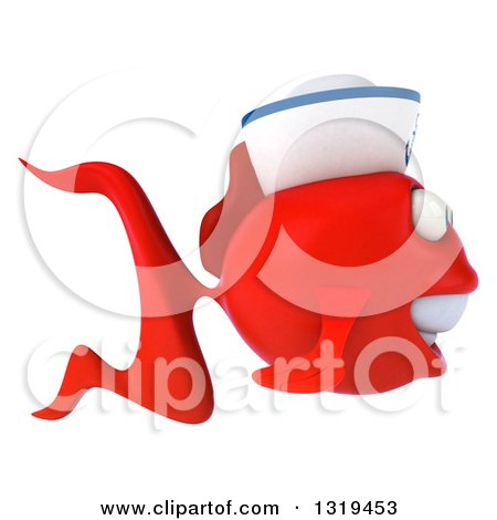 Clipart of a 3d Red Sailor Fish Facing Right - Royalty Free Illustration by Julos