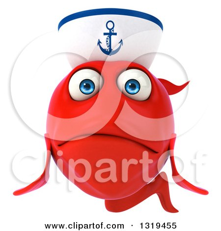 Clipart of a 3d Sad Red Sailor Fish - Royalty Free Illustration by Julos