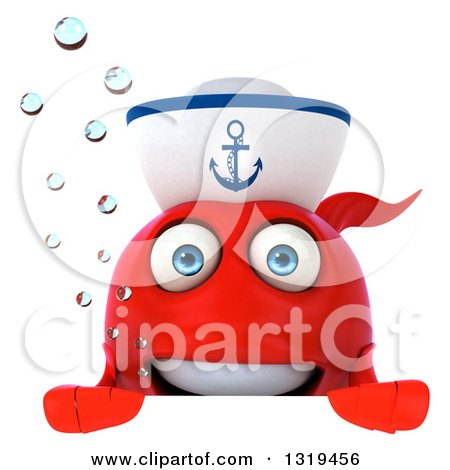Clipart of a 3d Red Sailor Fish with Bubbles over a Sign - Royalty Free Illustration by Julos
