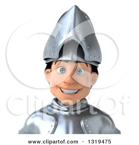Clipart of a 3d Caucasian Male Armored Knight Avatar - Royalty Free Illustration by Julos