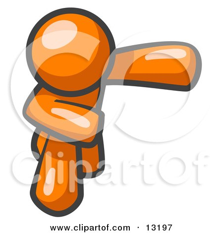 Orange Man Bowing Clipart Illustration by Leo Blanchette