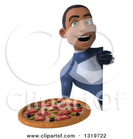 Clipart of a 3d Young Black Male Super Hero Dark Blue Suit, Holding a Pizza Around a Sign - Royalty Free Illustration by Julos