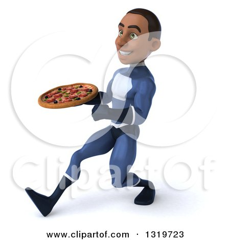 Clipart of a 3d Young Black Male Super Hero Dark Blue Suit, Speed Walking to the Left and Holding a Pizza - Royalty Free Illustration by Julos