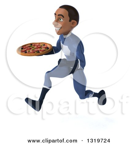 Clipart of a 3d Young Black Male Super Hero Dark Blue Suit, Sprinting to the Left and Holding a Pizza - Royalty Free Illustration by Julos