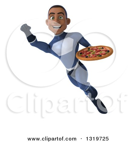 Clipart of a 3d Young Black Male Super Hero Dark Blue Suit, Flying and Holding a Pizza 2 - Royalty Free Illustration by Julos