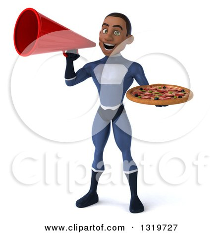 Clipart of a 3d Young Black Male Super Hero Dark Blue Suit, Holding a Pizza and Announcing with a Megaphone - Royalty Free Illustration by Julos