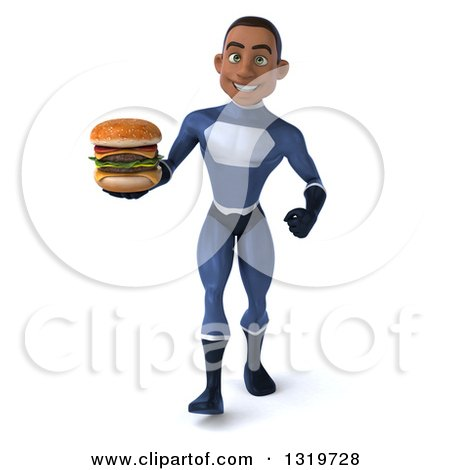 Clipart of a 3d Young Black Male Super Hero Dark Blue Suit, Walking and Holding a Double Cheeseburger - Royalty Free Illustration by Julos