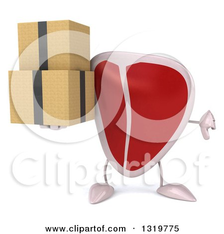 Clipart of a 3d Beef Steak Character Giving a Thumb down and Holding Boxes - Royalty Free Illustration by Julos