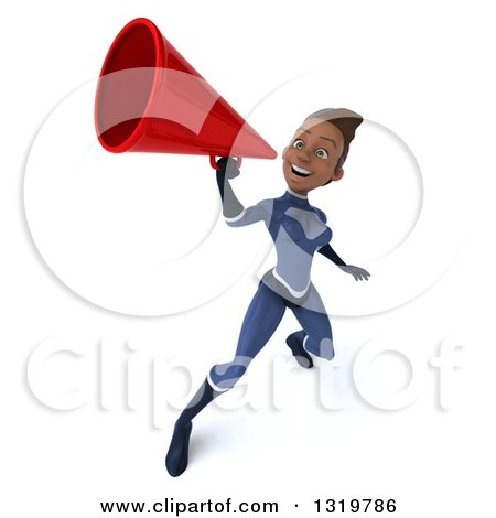 Clipart of a 3d Young Black Female Super Hero in a Dark Blue Suit, Announcing Upwards with a Megaphone - Royalty Free Illustration by Julos