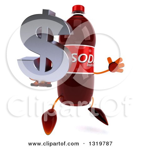 Clipart of a 3d Soda Bottle Character Facing Right, Jumping and Holding a Dollar Symbol - Royalty Free Illustration by Julos