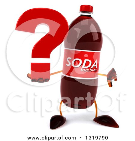 Clipart of a 3d Soda Bottle Character Giving a Thumb down and Holding a Question Mark - Royalty Free Illustration by Julos