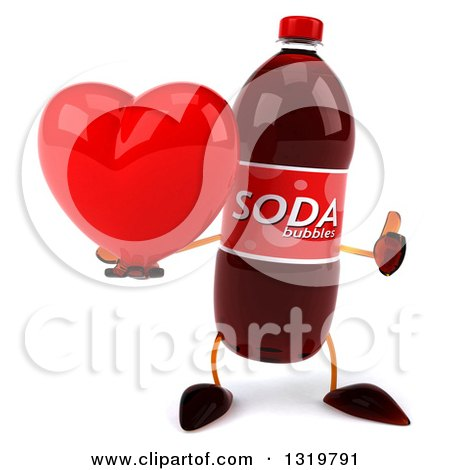 Clipart of a 3d Soda Bottle Character Giving a Thumb up and Holding a Heart - Royalty Free Illustration by Julos