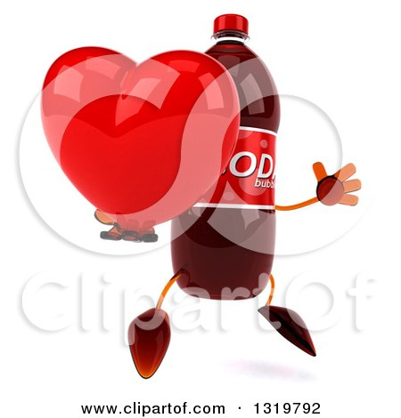 Clipart of a 3d Soda Bottle Character Facing Right, Jumping and Holding a Heart - Royalty Free Illustration by Julos