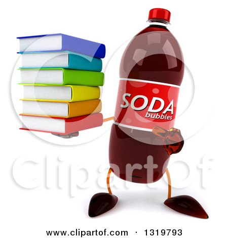 Clipart of a 3d Soda Bottle Character Holding and Pointing to a Stack of Books - Royalty Free Illustration by Julos