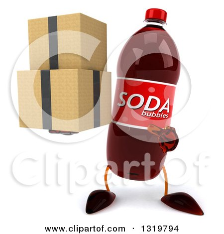 Clipart of a 3d Soda Bottle Character Holding and Pointing to Boxes - Royalty Free Illustration by Julos