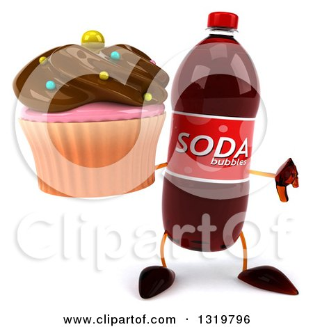 Clipart of a 3d Soda Bottle Character Giving a Thumb down and Holding a Chocolate Frosted Cupcake - Royalty Free Illustration by Julos