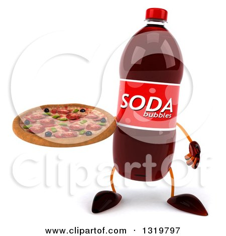 Clipart of a 3d Soda Bottle Character Holding a Pizza - Royalty Free Illustration by Julos