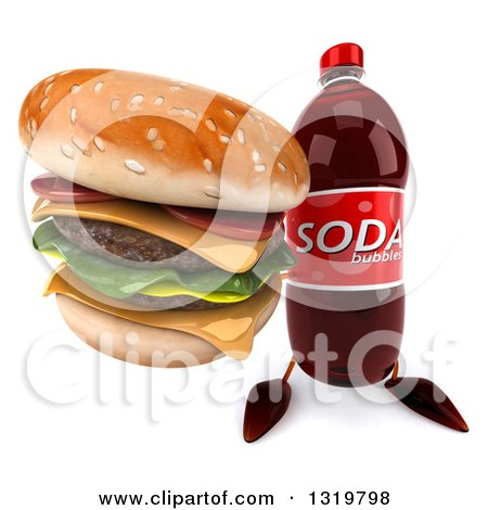 Clipart of a 3d Soda Bottle Character Holding up a Double Cheeseburger - Royalty Free Illustration by Julos