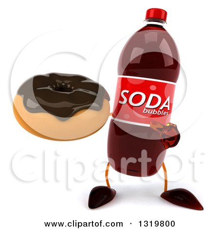 Clipart of a 3d Soda Bottle Character Holding and Pointing to a Chocolate Glazed Donut - Royalty Free Illustration by Julos