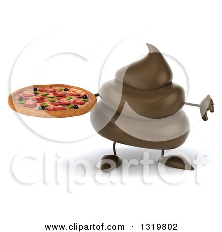 Clipart of a 3d Milk Chocolate or Poop Character Holding a Pizza and Giving a Thumb down - Royalty Free Illustration by Julos