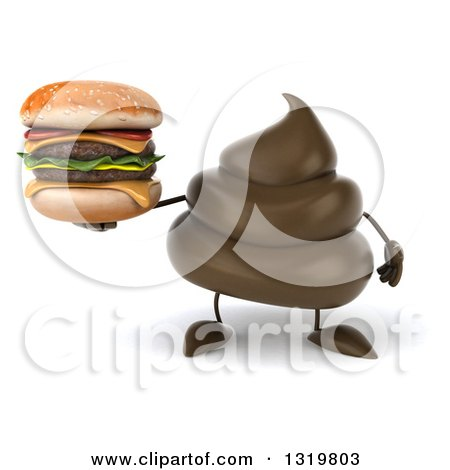 Clipart of a 3d Milk Chocolate or Poop Character Holding a Double Cheeseburger - Royalty Free Illustration by Julos