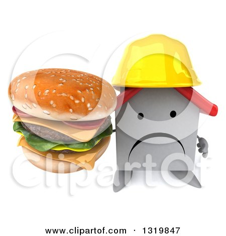 Clipart of a 3d Unhappy White House Contractor Character Wearing a Hardhat and Holding up a Double Cheeseburger - Royalty Free Illustration by Julos