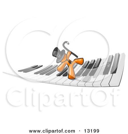 Orange Man Dancing and Walking on a Piano Keyboard Posters, Art Prints