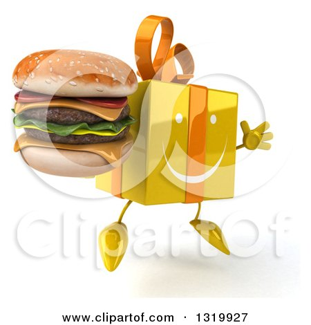 Clipart of a 3d Happy Yellow Gift Character Facing Right, Jumping and Holding a Double Cheeseburger - Royalty Free Illustration by Julos