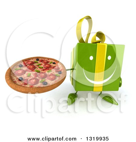 Clipart of a 3d Happy Green Gift Character Holding up a Pizza - Royalty Free Illustration by Julos