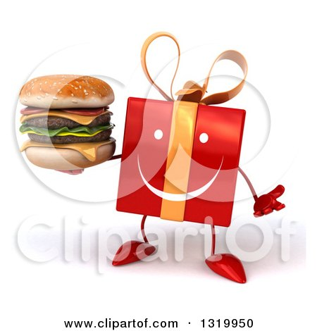 Clipart of a 3d Happy Red Gift Character Shrugging and Holding a Double Cheeseburger - Royalty Free Illustration by Julos
