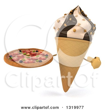 Clipart of a 3d Chocolate and Vanilla Swirl Waffle Ice Cream Cone Character Holding and Pointing to a Pizza - Royalty Free Illustration by Julos