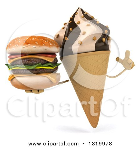 Clipart of a 3d Chocolate and Vanilla Swirl Waffle Ice Cream Cone Character Holding up a Finger and a Double Cheeseburger - Royalty Free Illustration by Julos