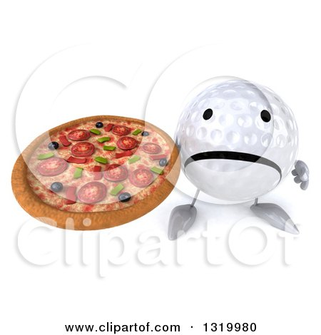 Clipart of a 3d Unhappy Golf Ball Character Holding up a Pizza - Royalty Free Illustration by Julos