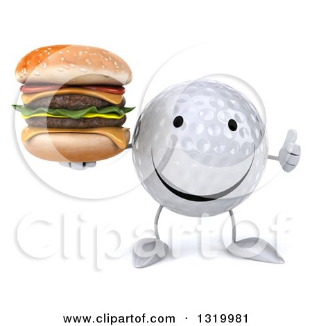 Clipart of a 3d Happy Golf Ball Character Holding up a Thumb and Double Cheeseburger - Royalty Free Illustration by Julos