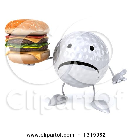 Clipart of a 3d Unhappy Golf Ball Character Shrugging and Holding a Double Cheeseburger - Royalty Free Illustration by Julos