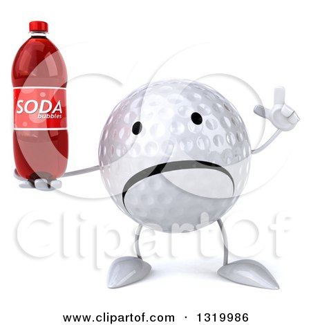 Clipart of a 3d Unhappy Golf Ball Character Holding up a Finger and a Soda Bottle - Royalty Free Illustration by Julos