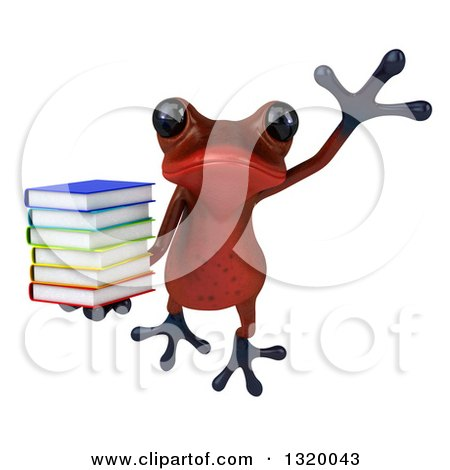 Clipart of a 3d Red Springer Frog Leaping and Holding a Stack of Books - Royalty Free Illustration by Julos