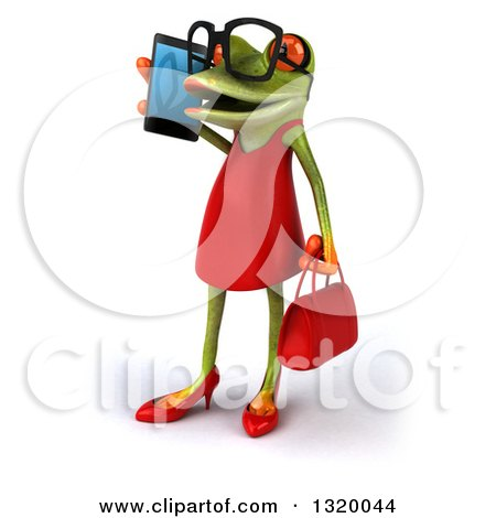Clipart of a 3d Bespectacled Green Female Springer Frog Facing Left and Talking on a Smart Cell Phone - Royalty Free Illustration by Julos