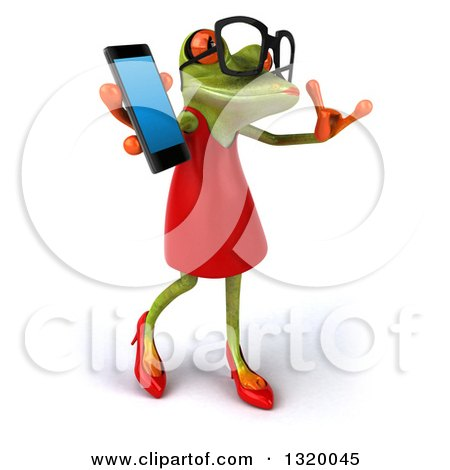 Clipart of a 3d Bespectacled Green Female Springer Frog Facing Right, Walking, Gesturing Call Me and Holding a Smart Cell Phone - Royalty Free Illustration by Julos