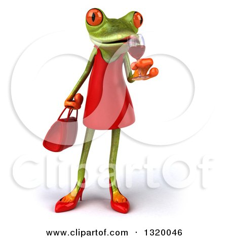 Clipart of a 3d Green Female Springer Frog Sipping a Glass of Red Wine - Royalty Free Illustration by Julos