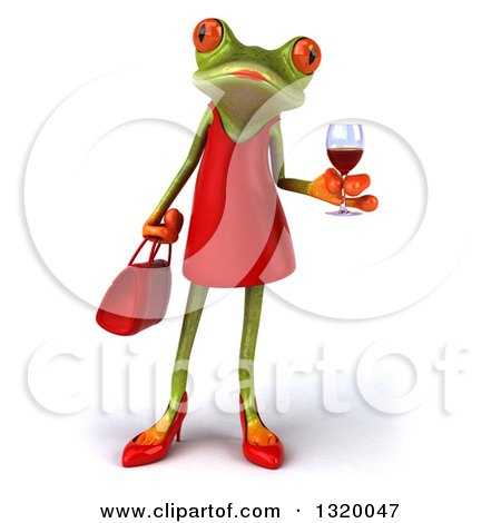 Clipart of a 3d Green Female Springer Frog Holding a Glass of Red Wine - Royalty Free Illustration by Julos