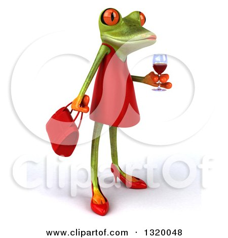 Clipart of a 3d Green Female Springer Frog Facing Right and Holding a Glass of Red Wine - Royalty Free Illustration by Julos