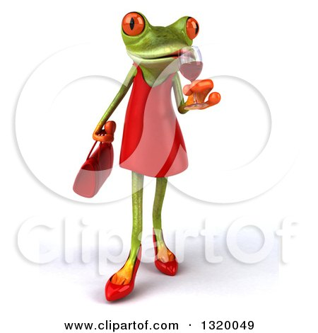 Clipart of a 3d Green Female Springer Frog Walking and Sipping a Glass of Red Wine - Royalty Free Illustration by Julos