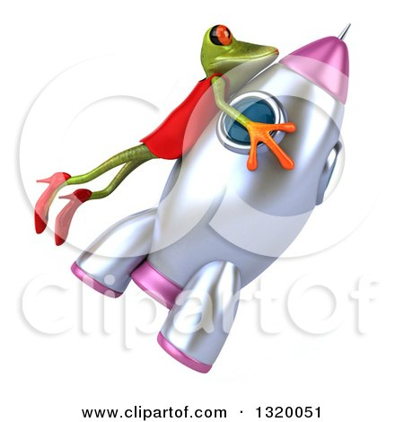 Clipart of a 3d Green Female Frog Riding a Rocket 2 - Royalty Free Illustration by Julos