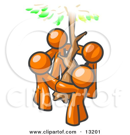 Group of 4 Orange Man Standing in a Circle Around a Tree Posters, Art Prints