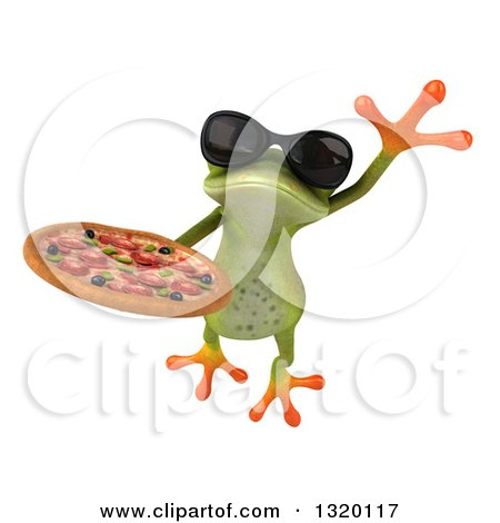 Clipart of a 3d Green Springer Frog Wearing Sunglasses, Leaping and Holding a Pizza - Royalty Free Illustration by Julos
