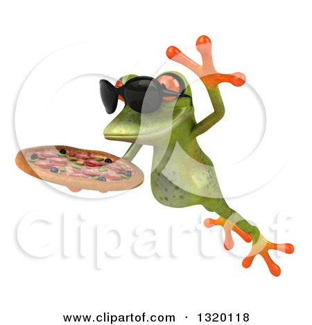 Clipart of a 3d Green Springer Frog Wearing Sunglasses, Leaping to the Left and Holding a Pizza - Royalty Free Illustration by Julos